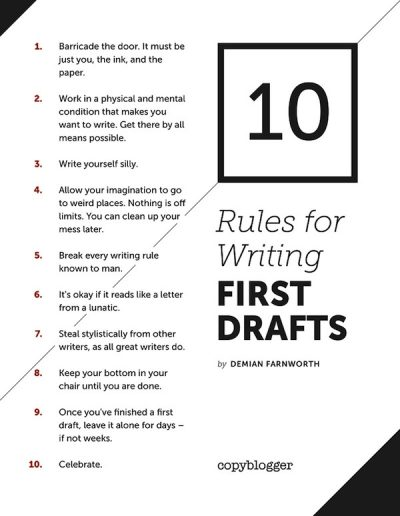 10 Rules for a First Draft, from Demian Farnworth on CopyBlogger