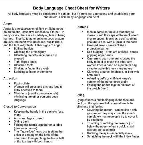 Body Language Cheat Sheet, from Carolyn Kaufman