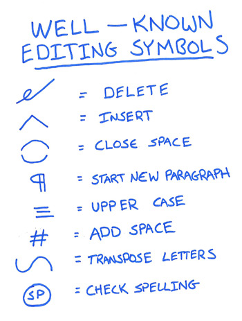 Editing Symbols, from Brian A. Klem on Writer's Digest